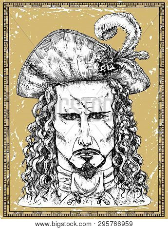 Portrait Of Scary Pirate Captain With Scar On Face On Texture Background. Hand Drawn Engraved Vector