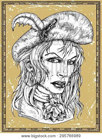 Portrait Of Beautiful Pirate Captain Woman In Hat On Texture Background. Hand Drawn Engraved Vector