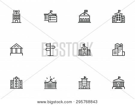 City Infrastructure Line Icon Set. School, Government, Courthouse, Hospital, Road Sign. Urban Life C