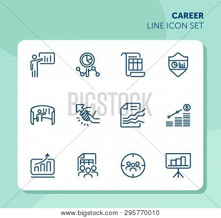 Career Line Icon Set. Set Of Line Icons On White Background. Working Concept. Diagram, Business Plan
