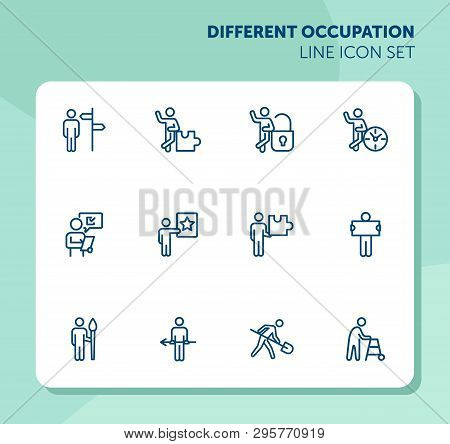 Different Occupation Line Icon Set. Direction Sign, Puzzle, Lock, Clock. Activity Concept. Can Be Us