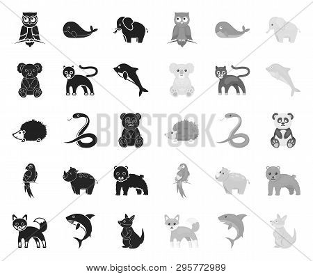An Unrealistic Animal Black.mono Icons In Set Collection For Design. Toy Animals Vector Symbol Stock