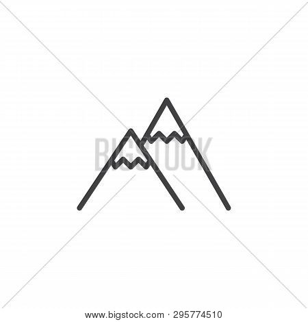 Mountain Peak Line Icon. Linear Style Sign For Mobile Concept And Web Design. Snowy Mountains Peak O
