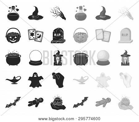 Black.mono And White Magic Black.mono Icons In Set Collection For Design. Attributes And Sorceress A