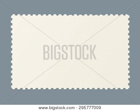 Torn Blank Postage Stamp. Template Of Ragged Postmark For Postcards And Postal Travel Cards Marking.