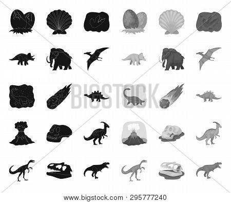 Different Dinosaurs Black.mono Icons In Set Collection For Design. Prehistoric Animal Vector Symbol