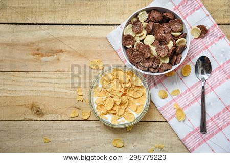 Cornflakes Breakfast And Various Cereals In Bowl Milk Cup On Wooden Table Background For Cereal Heal