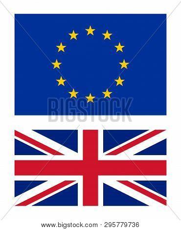 European Union And United Kingdom Flags Vector Illustration