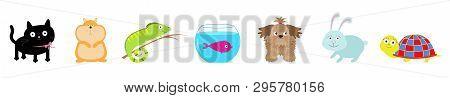 Pet Set Line. Cat, Dog, Fish Aquarium, Hamster, Iguana, Turtle, Rabbit Hare. Cute Cartoon Kawaii Fun