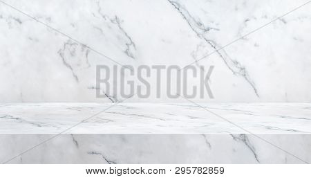 3d Luxury Marble Table Studio Background Textured For Product Display With Copy Space For Display Of