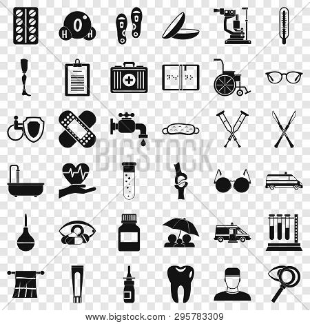 Health Care Icons Set. Simple Style Of 36 Health Care Vector Icons For Web For Any Design