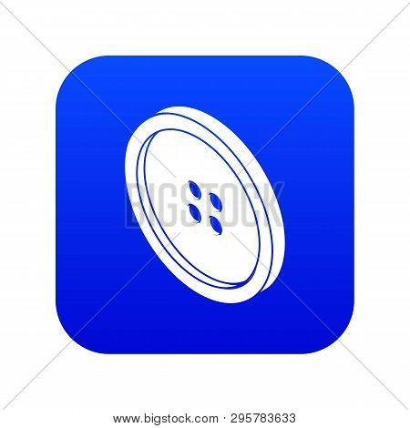 Small Shirt Button Icon Blue Vector Isolated On White Background