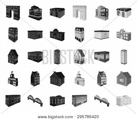 Building and architecture black.mono icons in set collection for design.The building and dwelling vector isometric symbol stock web illustration. poster