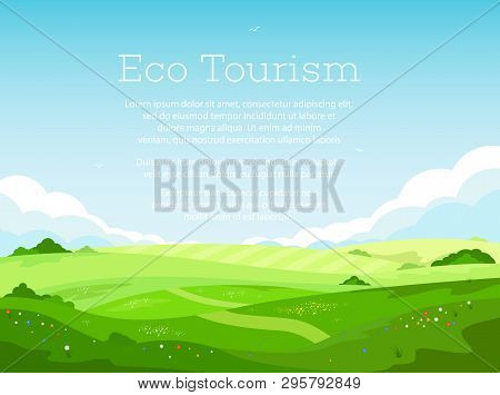 Eco Tourism And Countryside Vacation. Rural Landscape With Green Hills And Blue Sky In Cartoon Style