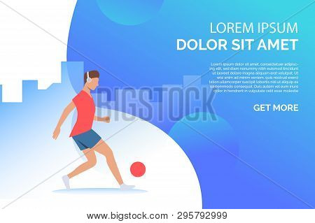 Man Playing With Ball And Listening To Music With Sample Text. Activity, Workout, Lifestyle Concept.