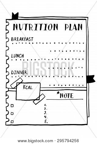 Cartoon Illustration Of Nutrition Plan. Hand Drawn Diet Plan In Doodle Style For Breakfast, Lunch An