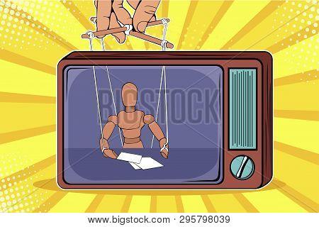 The Correspondent As The Doll Controls The Puppeteer. Fake News On Tv. Colorful Vector Illustration