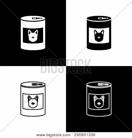 Set Canned Food For Dog Icons Isolated On Black And White Background. Food For Animals. Pet Dog Food