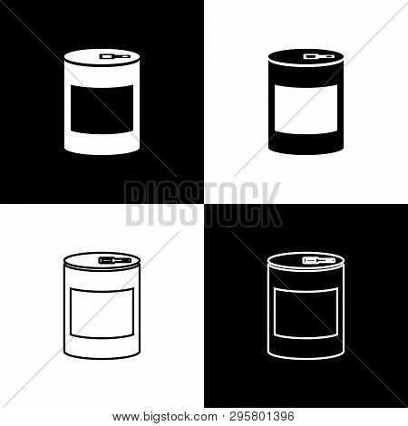 Set Canned Food Icons Isolated On Black And White Background. Food For Animals. Pet Food Can. Vector