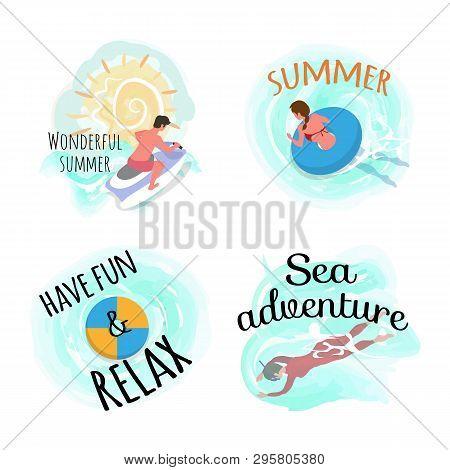 Sweet Summer Vector, Have Fun And Relax Set Of People. Man Riding Bike, Motor Jetski Water Splashes.