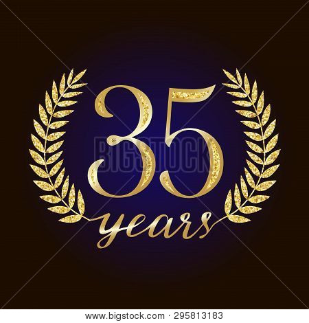 Sparkling Glitter 35 Anniversary. 35 Th Years Old Logotype. Isolated Elegant Abstract Nominee Graphi