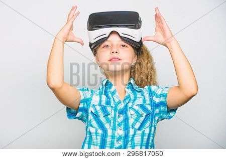Little Gamer Concept. Child Play Virtual Games With Modern Device. Explore Virtual Opportunity. Newe