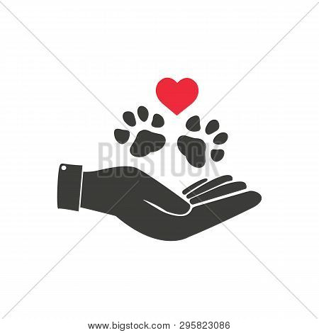 Illustration Human Hand Holding A Paw, Heart, Caucasian. Ideal For Catalogs, Informative And Veterin