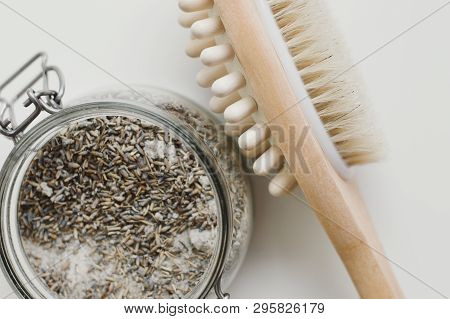 Salty Body Scrub With Lavender And Wooden Brush With Natural Bristle For Dry Anticellulite Massage