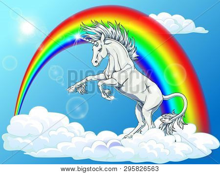 State White Unicorn On Rainbow And Blue