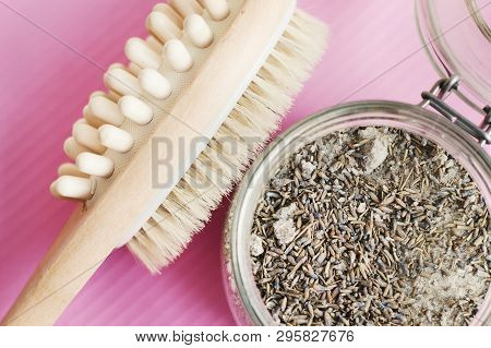 Jar With Body Scrub With Lavender And Salt And Multipurpose Brush For Anticellulite Massage. Dry Mas
