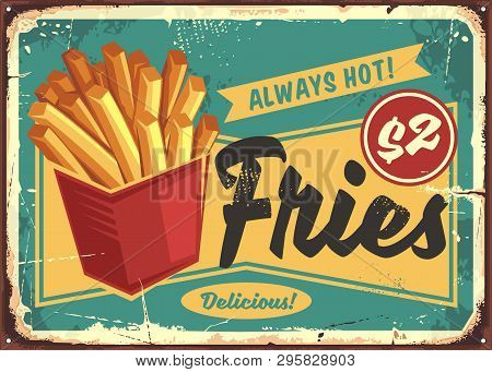 French Fries In Red Box Vintage Fast Food Sign. Street Food Fries Retro Poster Design. Junk Food Res