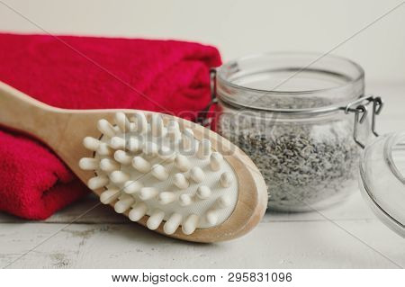 Wooden Brush For Body Massage, Scrub And Red Cotton Towel. Dry Body Massage And Skin Exfoliating. Bo