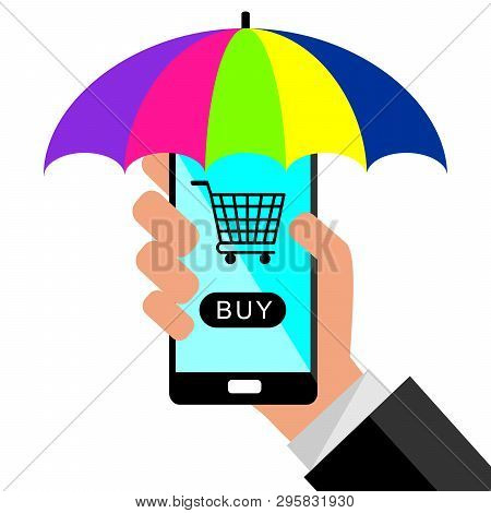 Businessman Holding A Smartphone With Sunshade  And Background For Online Buy. Concept Of Online Sho