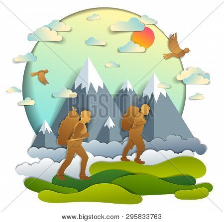 Father and son hiking to nature with mountain range, active men, fatherhood and teenager son growing masculine. Vector illustration of beautiful summer scenic landscape, birds in the sky, holidays. poster