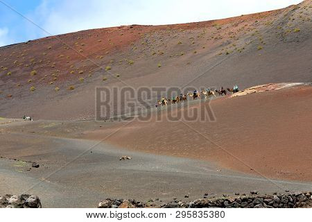 Lanzarote, Spain - April 20, 2018: The Incredible Desert Landscape Of Timanfaya National Park With R