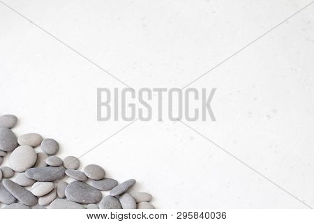 Spa Background With Grey Stones, Gray Modern Background, Cover, Template With Round Gray Stones, Fla