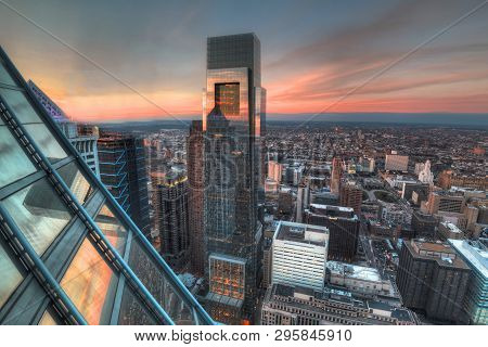 Philadelphia, Pa - January 19, 2017: Skyscraper Glass With Building Reflection And Cityscape Of High