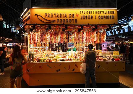 Barcelona, Spain - July 13, 2018: People Shop In Barcelona Market (mercat De Sant Josep De La Boquer