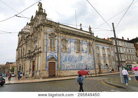 Porto, Portugal - June 21, 2018: Detail Of The Facade Of The Carmo Church (igreja Do Carmo) With Azu