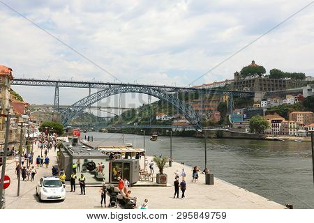 Porto, Portugal - June 21, 2018: Porto Old Town, Portugal.  Panoramic View At Ponte Dom Luis I On Do
