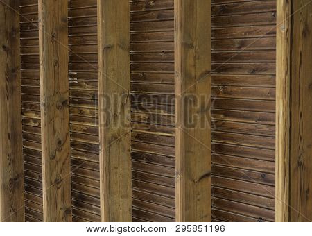 Vertical Background Wooden Boards And Roof Beams - Real Wood Boarding Roof With Cross Beams - Genuin