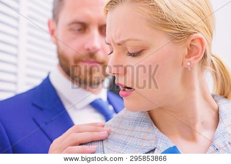 Protection Female Rights. Office Woman And Her Lustful Boss. Abusive Boss.