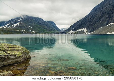 Norway Lake Djupvatnet. View On Djupvatnet Lake In Norway. Norwegian Lake Djupvatnet Lies Above Sea