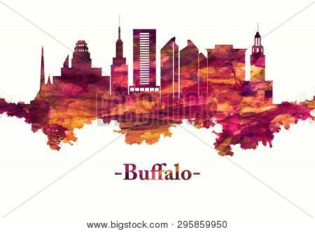 Red Skyline Of Buffalo, A City On The Shores Of Lake Erie In Upstate New York