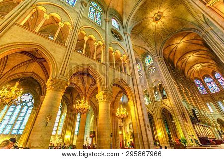 Paris, France - July 1, 2017: Central Nave Interior And Ceiling Of Our Lady Of Paris Church, Notre D