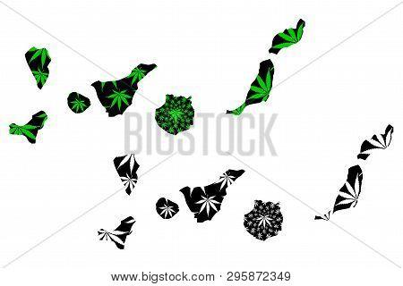 Canary Islands - Map Is Designed Cannabis Leaf Green And Black, Islas Canarias Map Made Of Marijuana