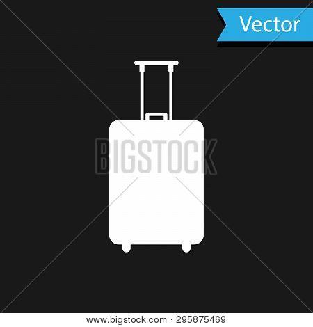 White Travel Suitcase Icon Isolated On Black Background. Traveling Baggage Sign. Travel Luggage Icon