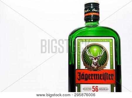 Miercurea Ciuc, Romania- 17 April 2019: Bottle Of  Jagermeister On Whitebackground.