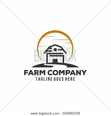 Simple Minimalist Barn Farm Logo Design Inspiration With Sun And Creeks