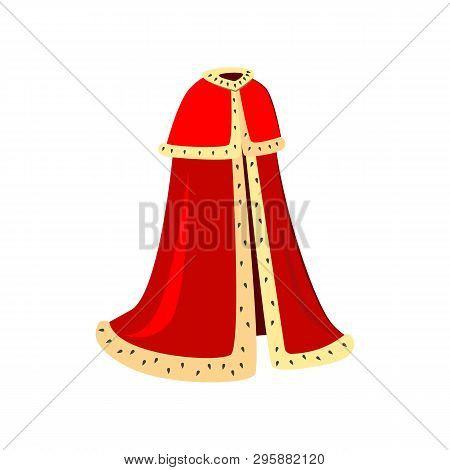 Red Ceremonial Robes Vector Illustration. King, Emperor, Cardinal. Monarchy Attributes Concept. Vect